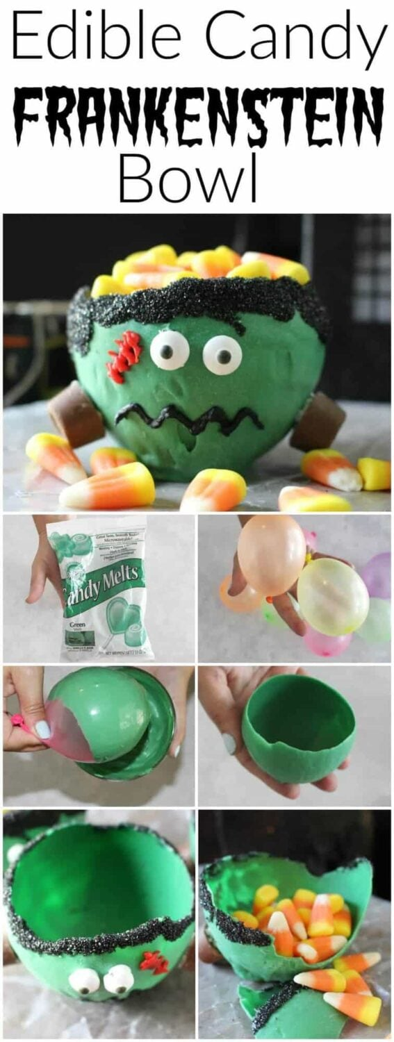 Edible Candy Bowl - This edible candy Frankenstein bowl is the perfectly yummy Halloween treat