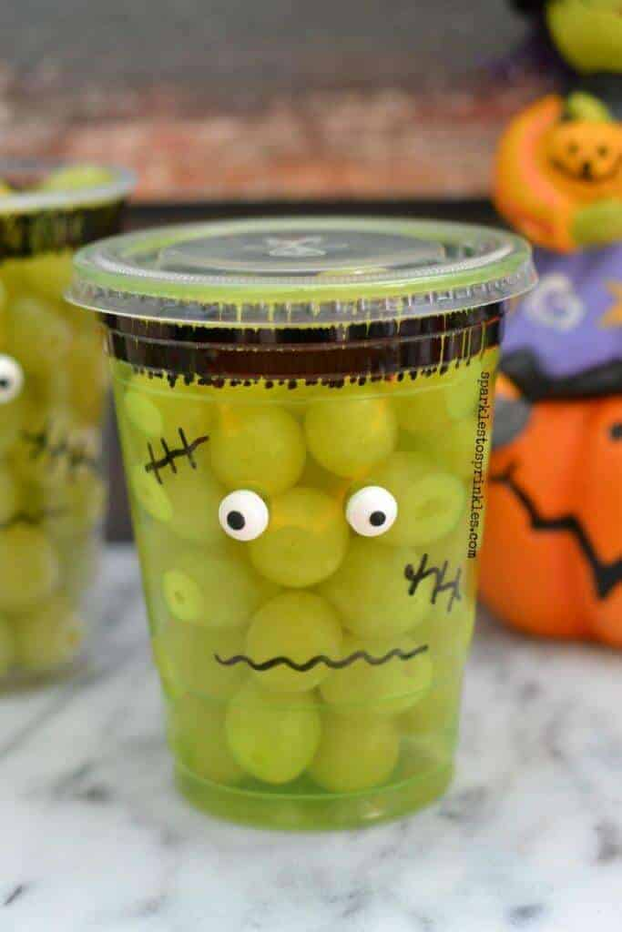 Frankenstein Fruit Cups from Sparkles to Sprinkles