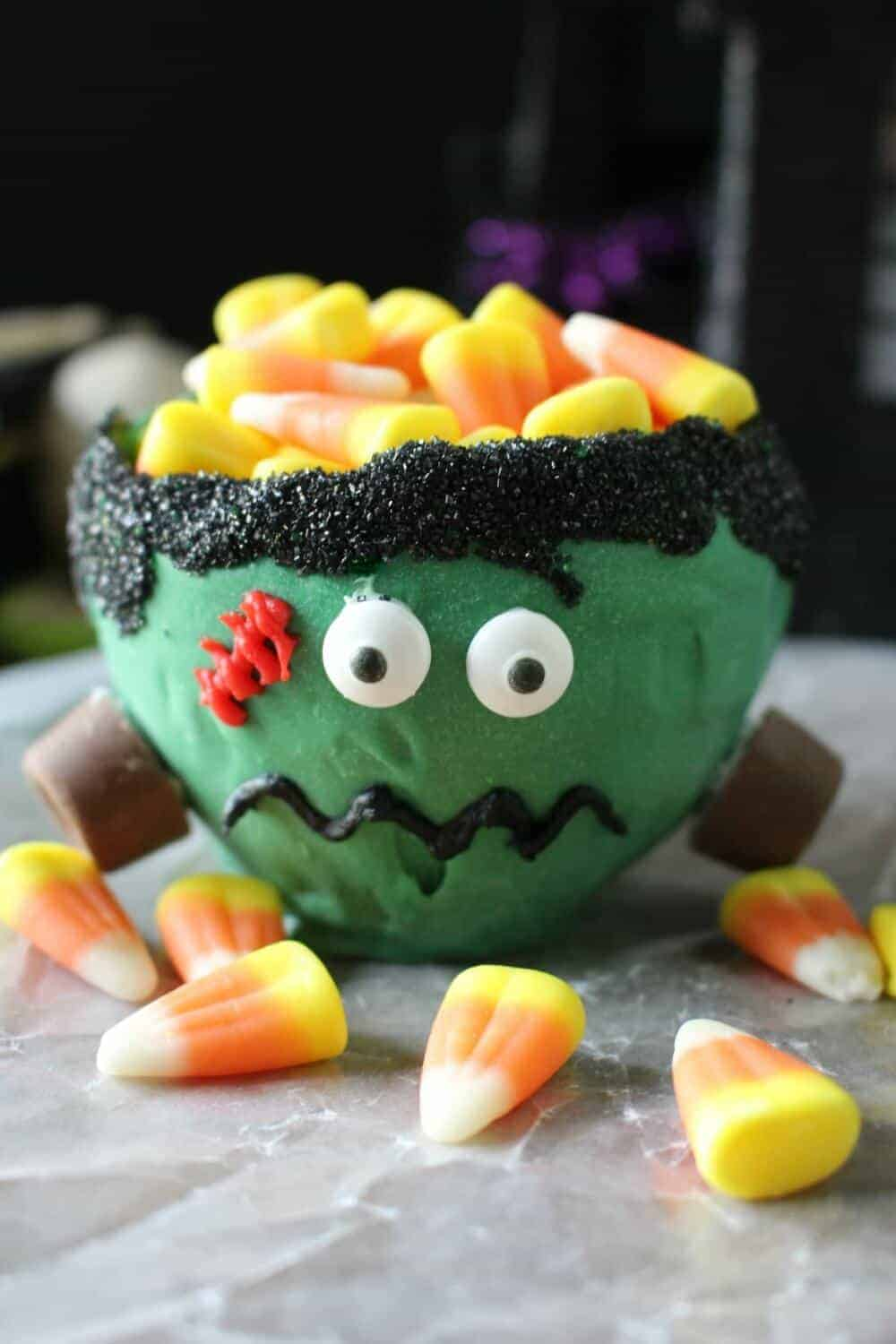Frankenstein candy bowl - you can eat the bowl