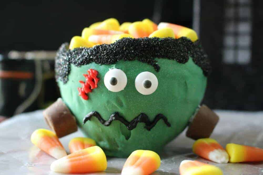 Frankenstein edible candy bowl made from a balloon and chocolate