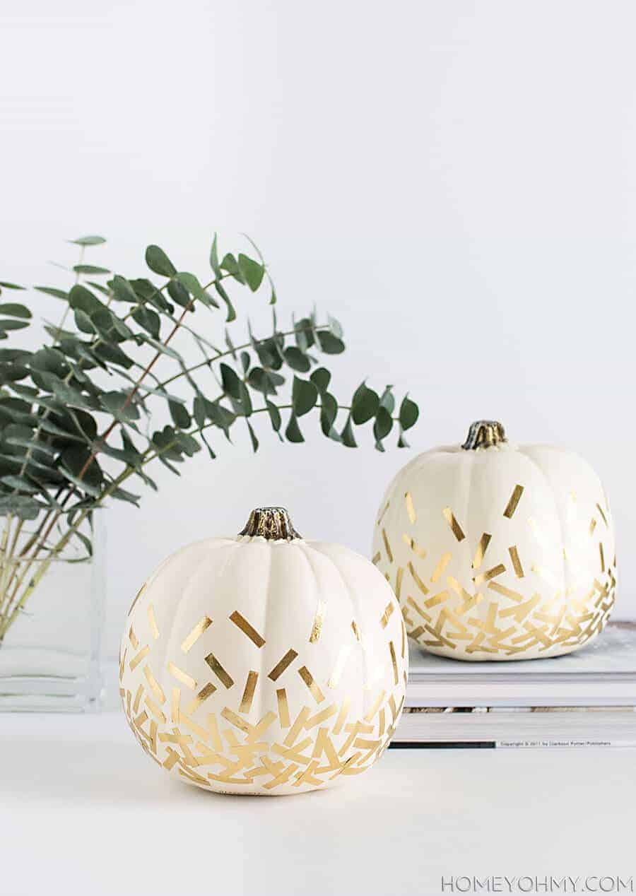 Gold Confetti Pumpkins by Homey Oh My!
