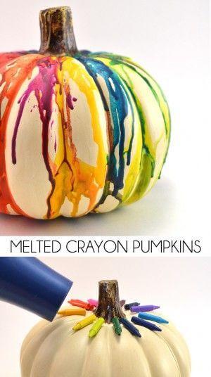 Melted Crayon Pumpkins by Dream a Little Bigger