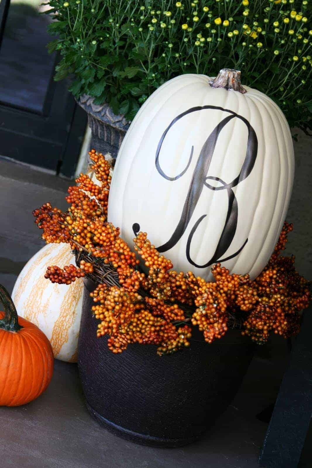 Monogrammed Pumpkins by The Butlers