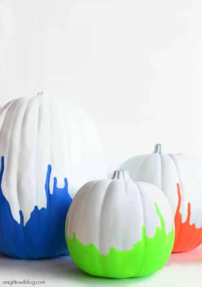 Neon Paint Dipped Pumpkins by A Night Owl Blog