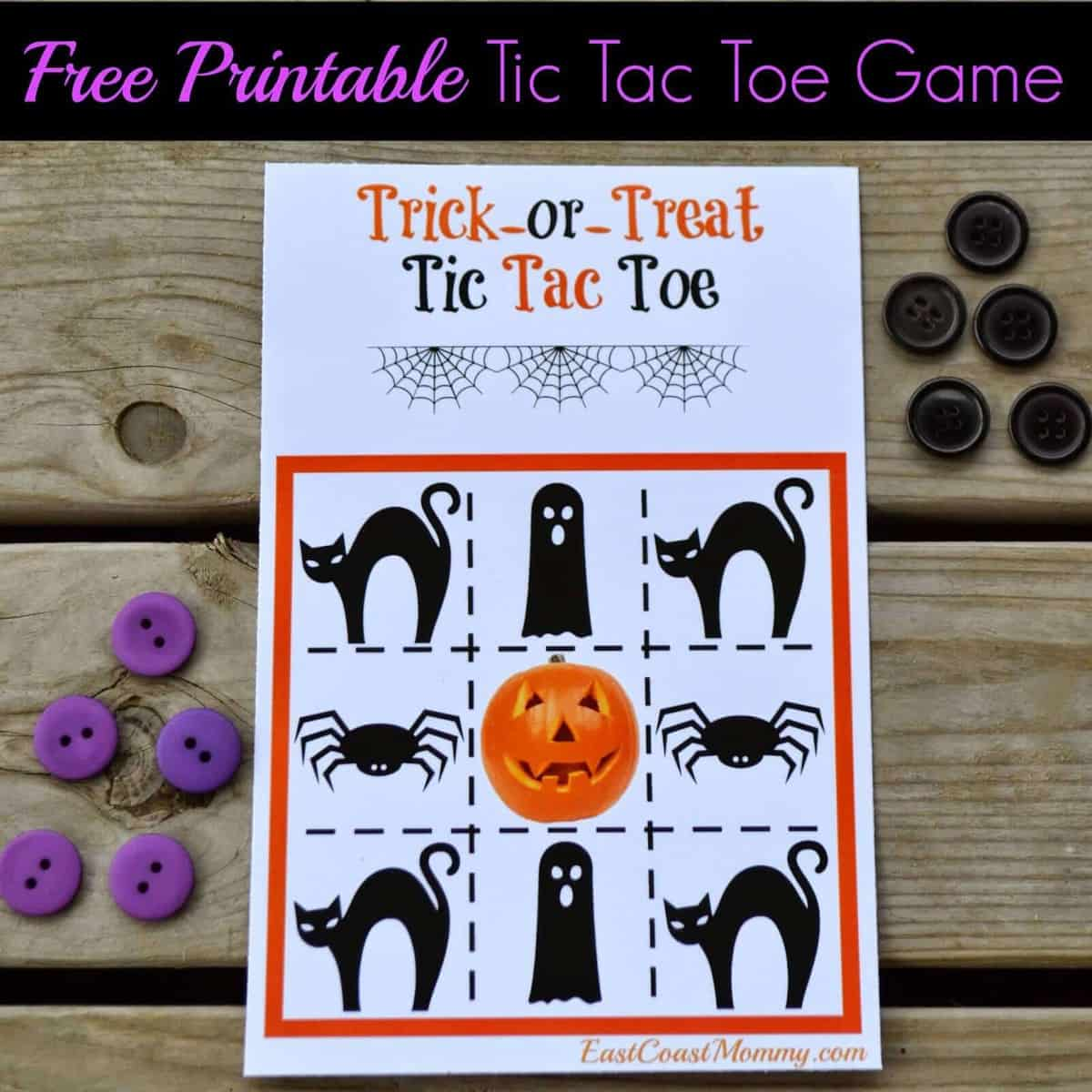 Free Printable Halloween Tic Tac Toe by East Coast Mommy