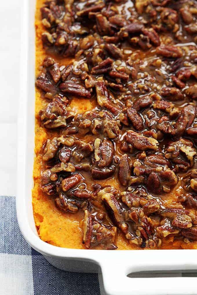 Candied Pecan Sweet Potato Casserole by Le Creme de la Crumb