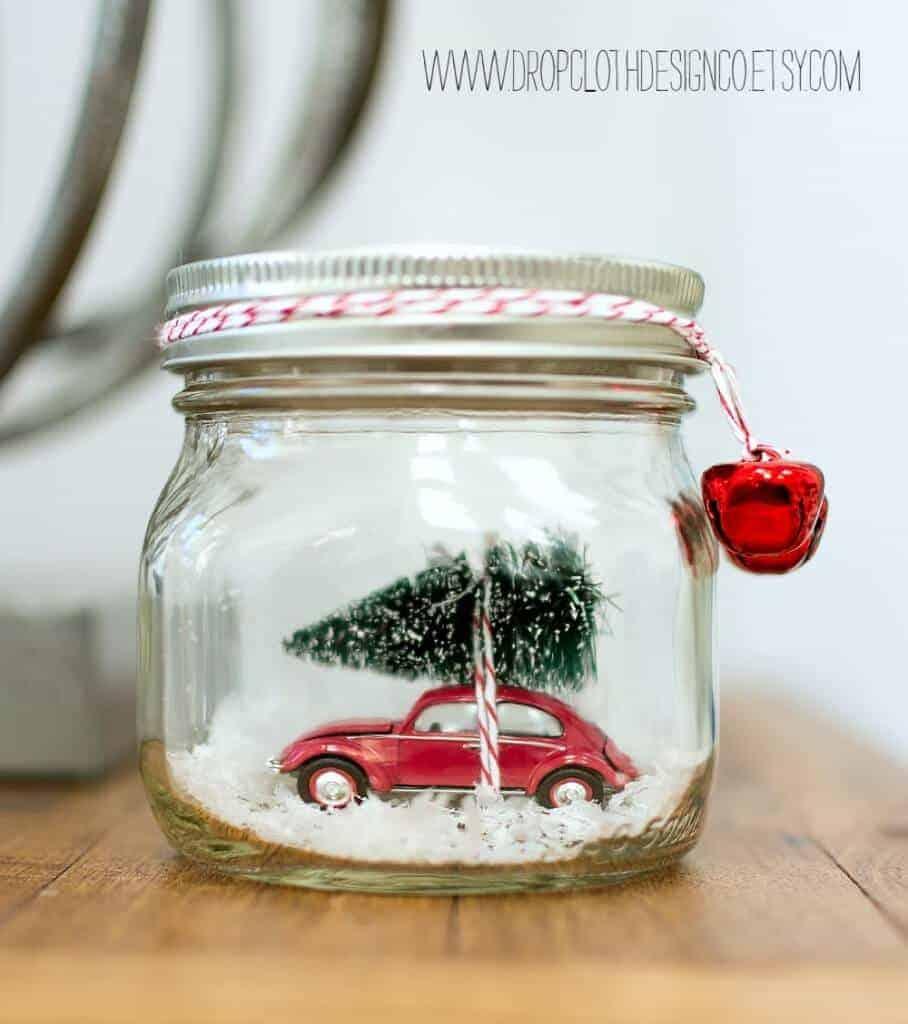 Car in a Jar Snow Globe by Mason Jar Crafts Love