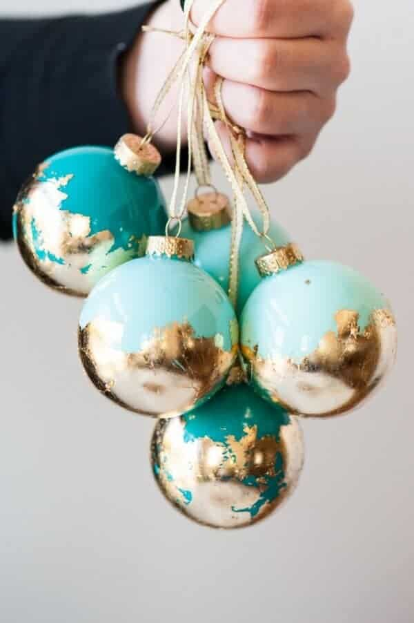 DIY Gold Leaf Painted Ornaments by Sweetest Occasion