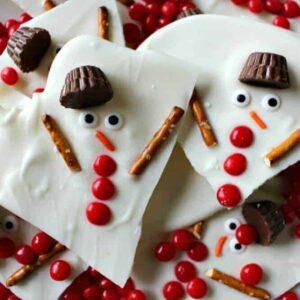 Melted Snowman Chocolate Bark