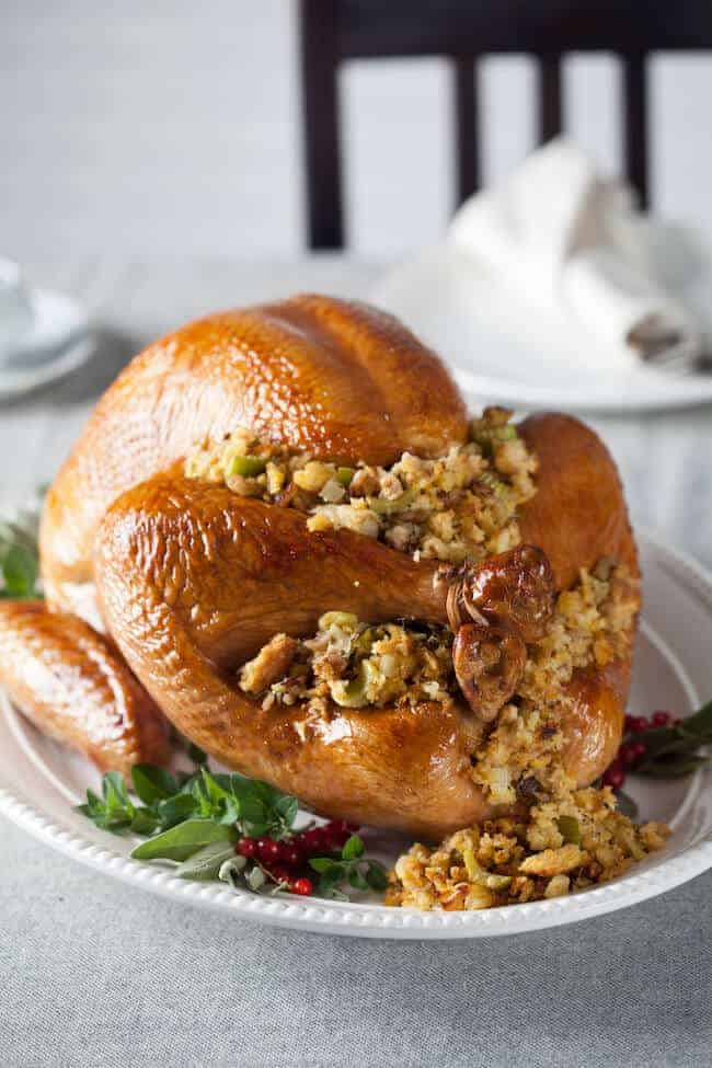 Roasted turkey with pineapple walnut stuffing