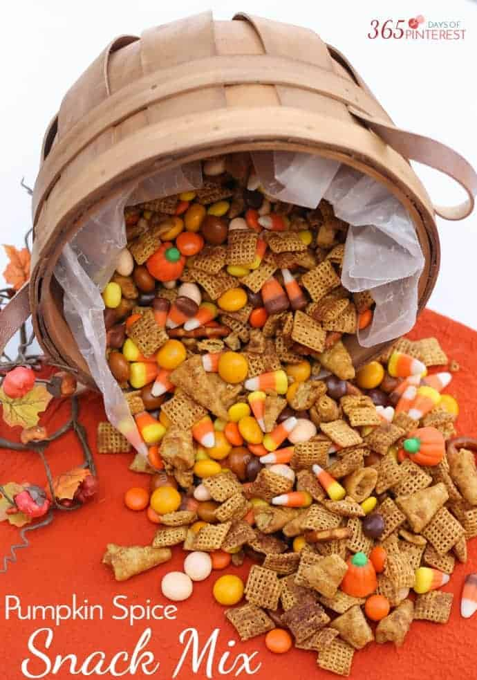 Pumpkin Spice Snack Mix with Chex Mix, candy corn, bugles, pretzels and pumpkin spice flavor