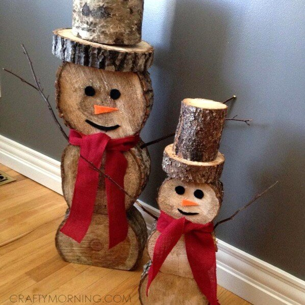 Wood Log Snowmen by Crafty Morning