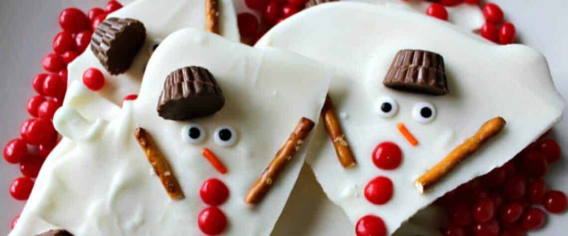 Melted Snowman Chocolate Bark
