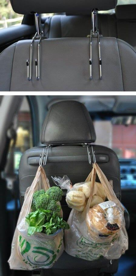 Back Seat Car Hooks via Amazon