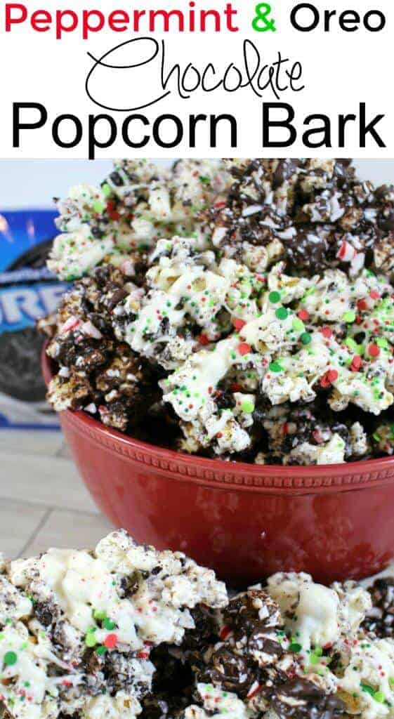 Peppermint and Oreo Chocolate Popcorn Bark - an EASY NO BAKE holiday dessert that your friends will love!