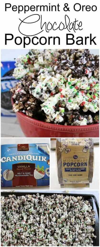 Peppermint and Oreo Chocolate Popcorn Bark holiday Christmas dessert