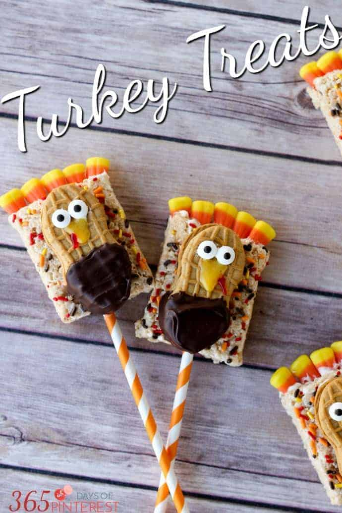 These Rice Krispie Treat Turkey Treats are perfect for class parties, the kids' table for Thanksgiving or just as a fun activity to do in the kitchen with your kids!