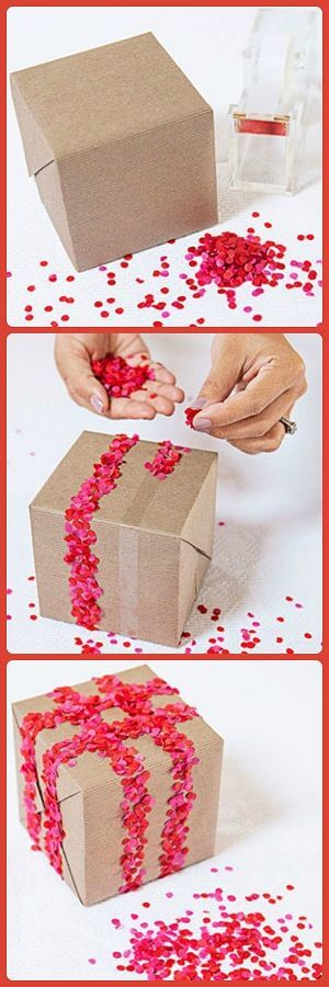 Gift wrapping hack - use double sided stick tape and confetti