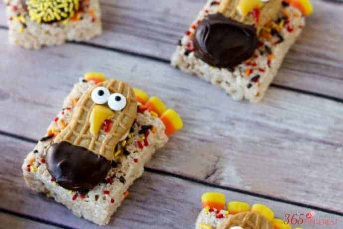 turkey treats Thanksgiving snacks Rice Krispie Treats candy eyes