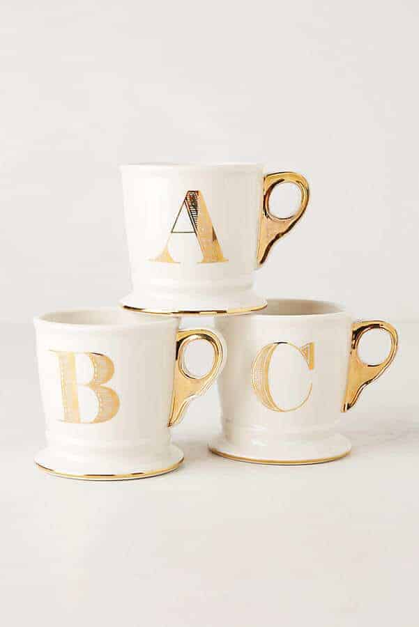Limited Edition Golden Monogram Mugs and other great gift ideas