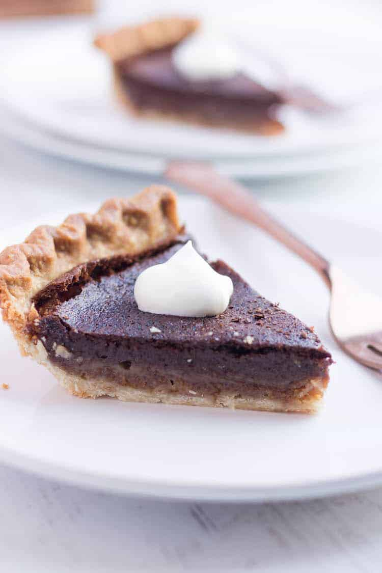 Chocolate Chess Pie on a plate