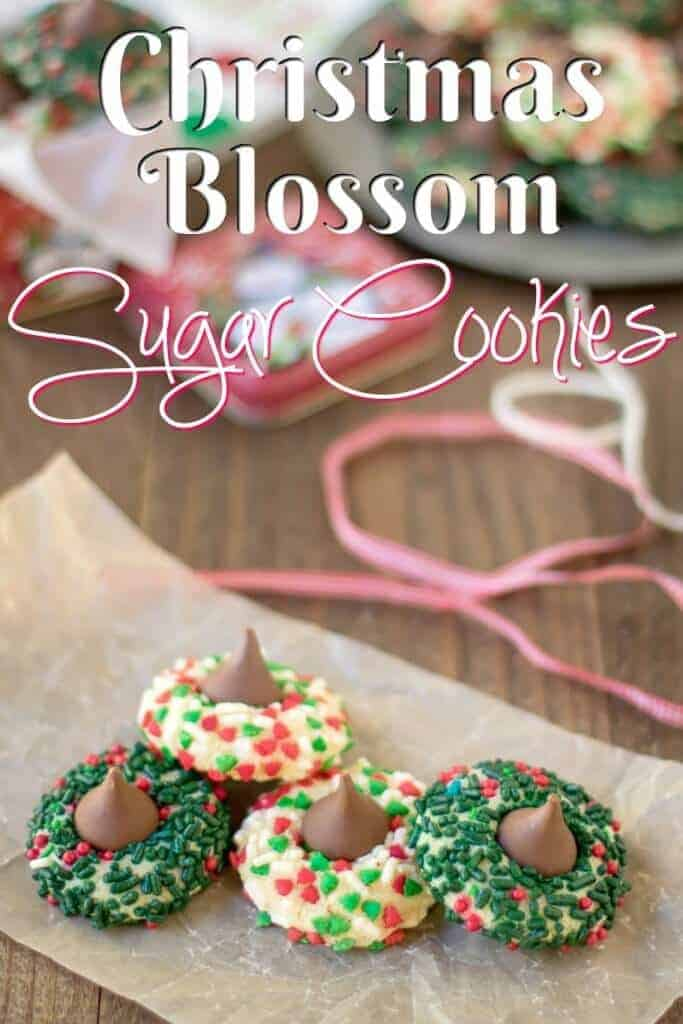 Christmas Blossom Sugar Cookies Hershey Kiss Thumb Print Cookies