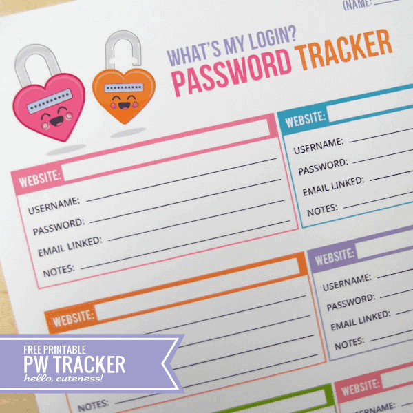 Password Tracker by Hello Cuteness | Parent Organization Hacks featured on Princess Pinky Girl