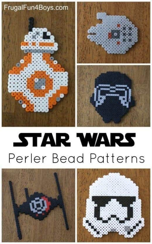Star Wars Perler Beads Patterns by Frugal Fun for Boys and Girls | Star Wars Crafts, Recipes and Gift Ideas