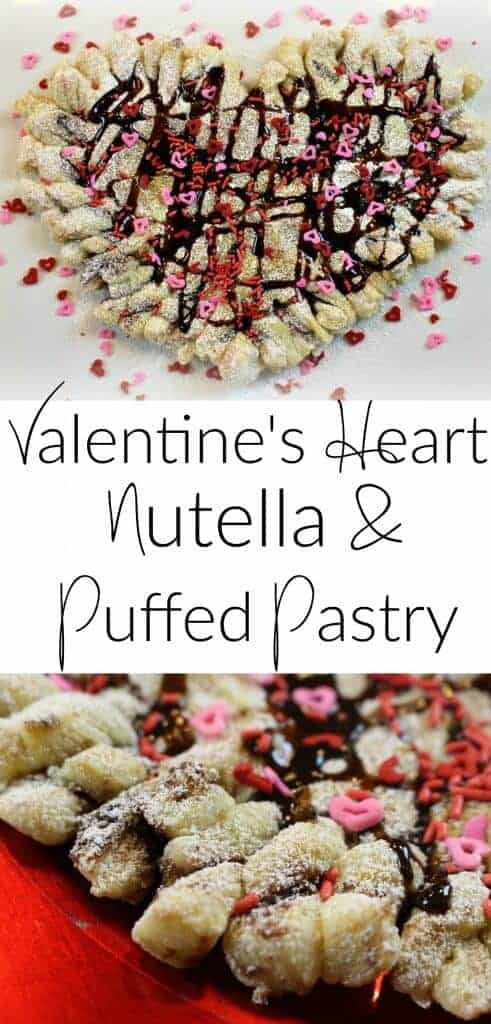 Valentine's Day Heart Nutella Puff Pastry - easy to make dessert and treat!
