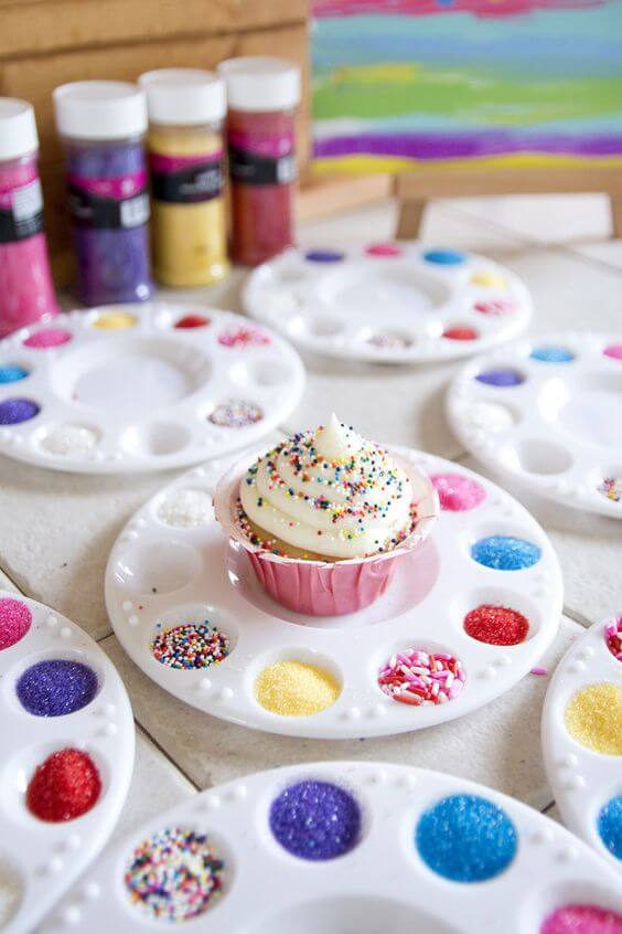 Cupcake decorating stations from Jen loves Kev - great idea for a DIY birthday party