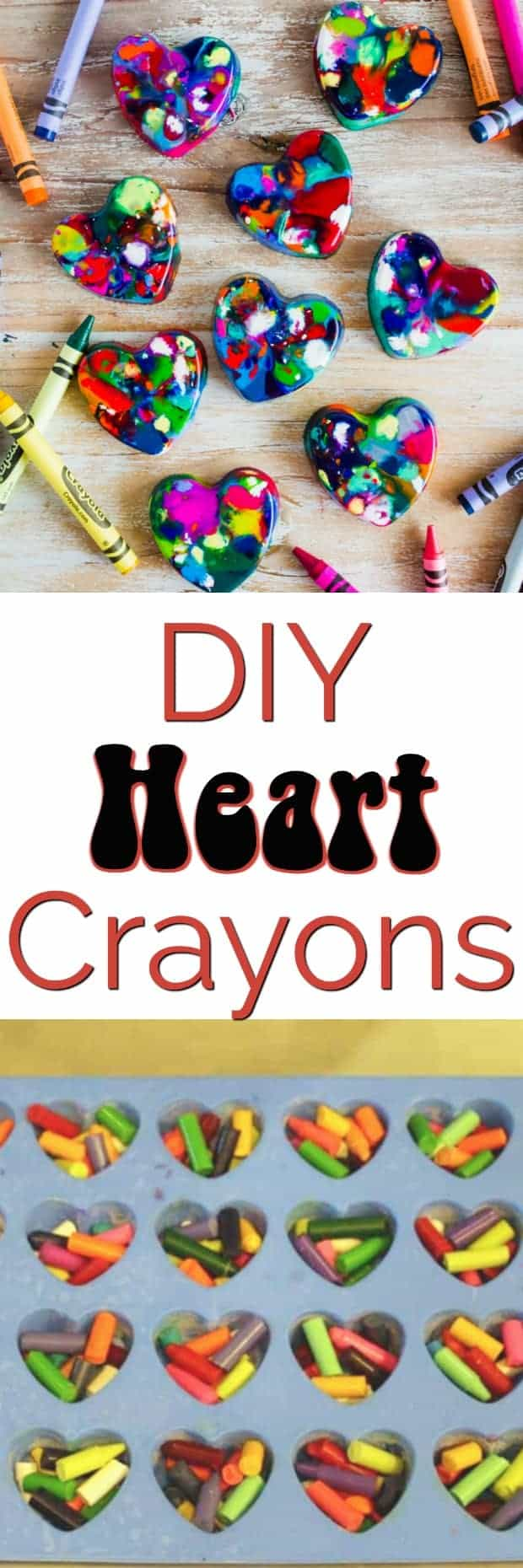 DIY Heart Crayons - the perfect homemade Valentine's Day project and gift to hand out at your child's classroom party