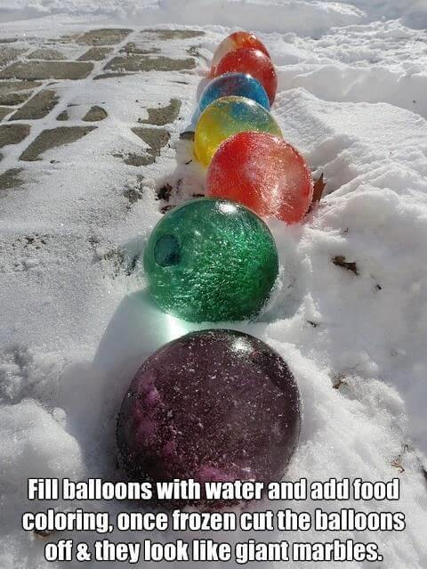 Frozen Balloon Marbles via PopSugar | Winning Winter Weather Hacks