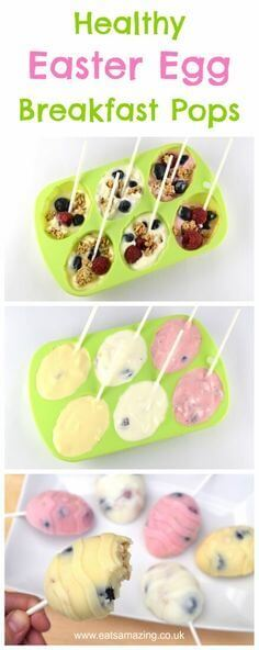Easter Egg Breakfast Popsicles made with yogurt from Eats Amazing