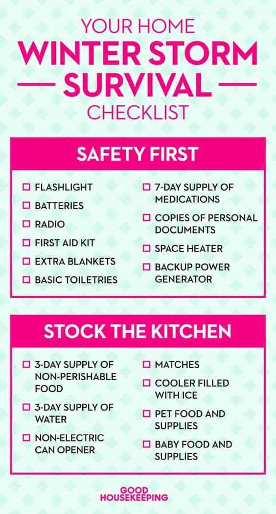 Winter Storm Checklist by Good Housekeeping | Winning Winter Weather Hacks