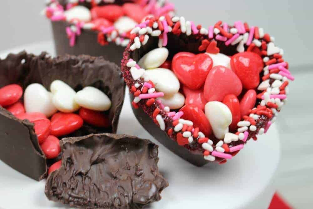 Valentine's Day chocolate heart bowl