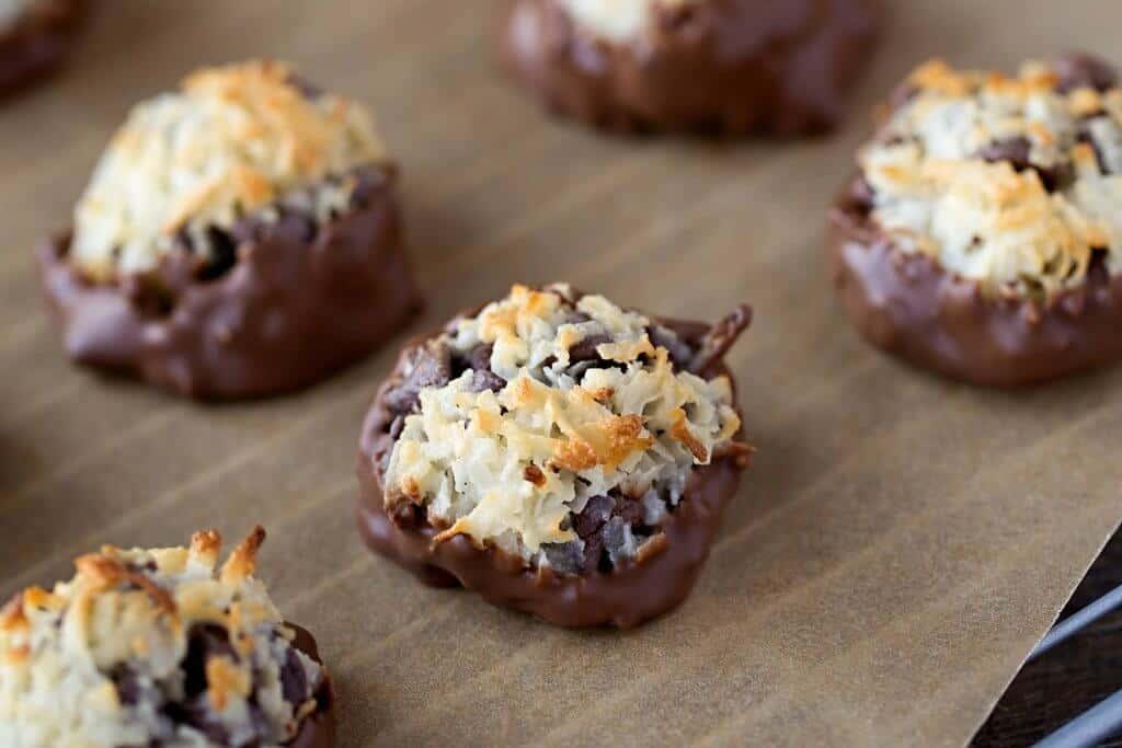 Chocolate Dipped Coconut Chocolate Chip Macaroon Recipe