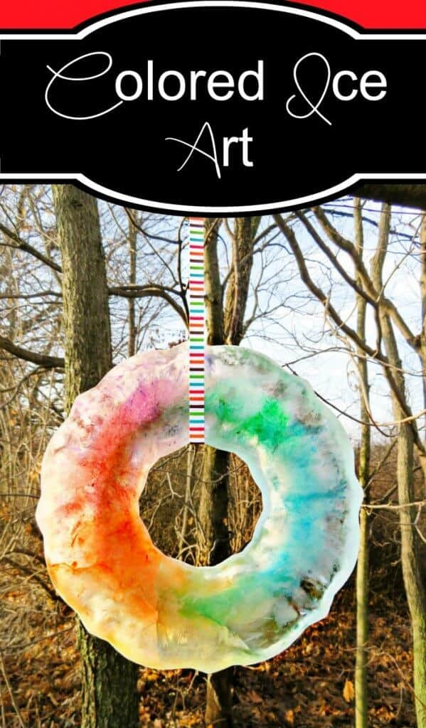 Colored Ice Art - a great winter DIY activity to do with the kids