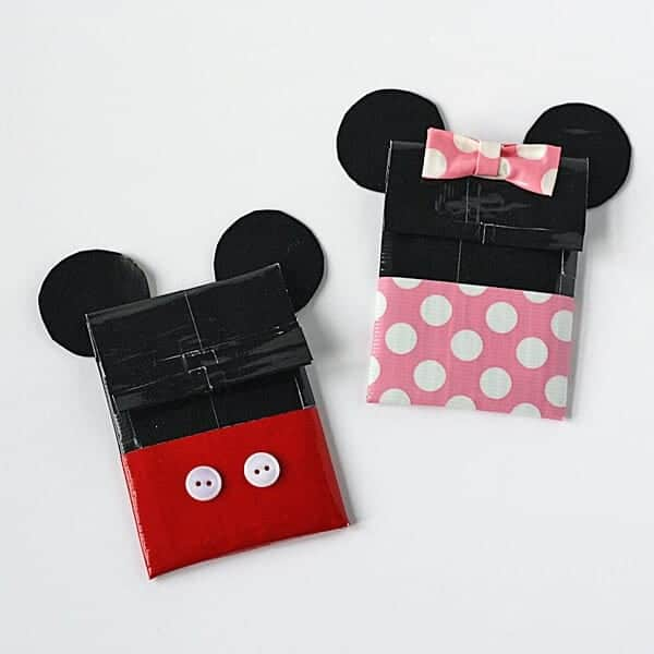 Duct Tape Mickey and Minnie Gift Card Holders by Crafts by Amanda | Mickey Mouse Ideas you are going to love!