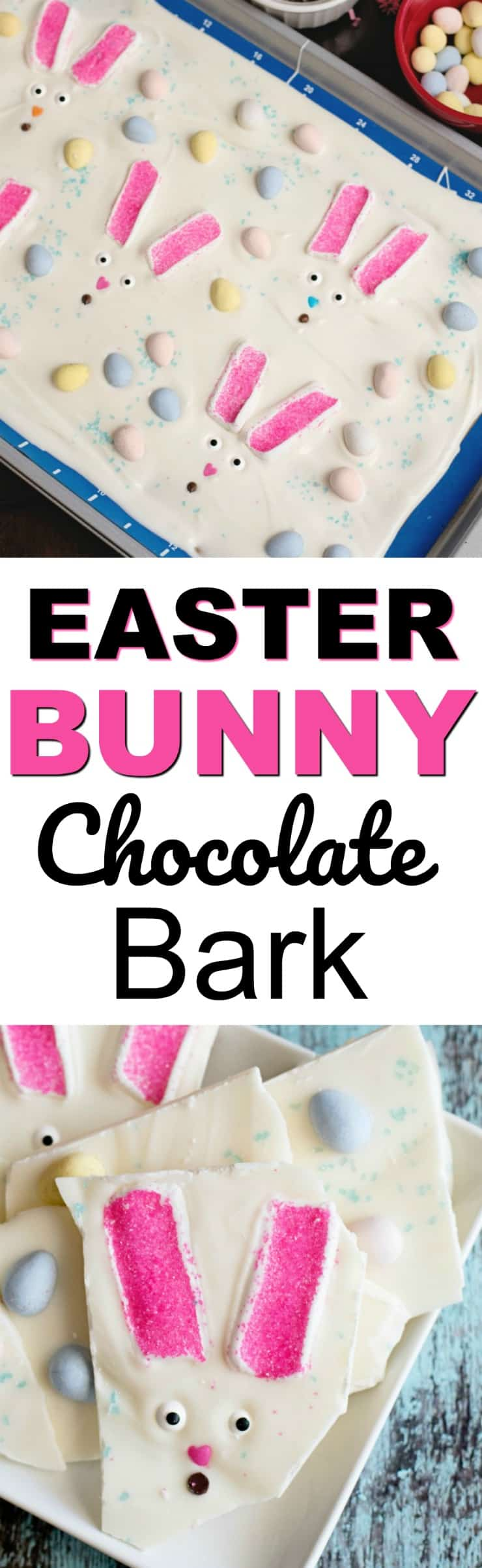 Easter Bunny Bark - Marshmallows, chocolate and any of your favorite easter candy make up this easy treat and great project to make with your kids