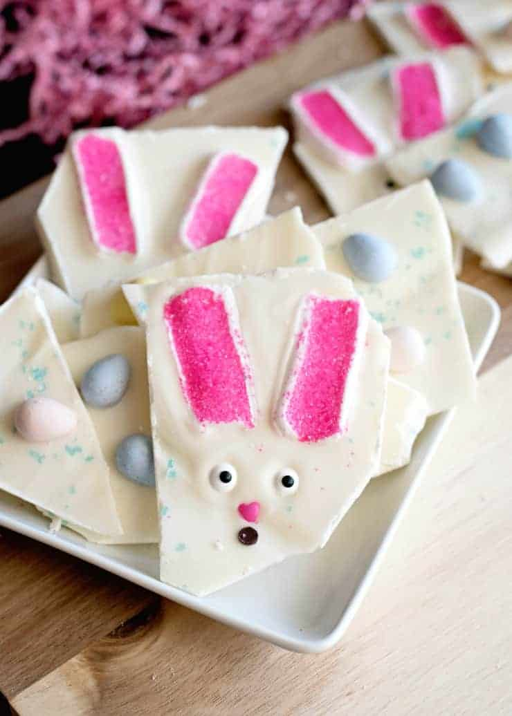 Easter Bunny Bark - Marshmallows, chocolate and any of your favorite easter candy make up this easy treat and great project to make with your kids! Put some in a cute Easter cellophane bag and add them to your Easter baskets!