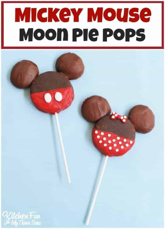 Mickey Mouse Moon Pie Pops by Kitchen Fun with My Three Sons | Mickey Mouse Ideas that you will love!