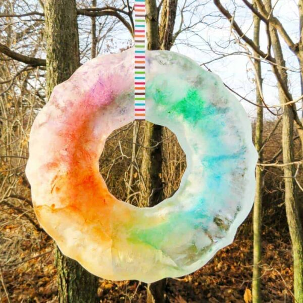 colored ice art - great for a winter activity