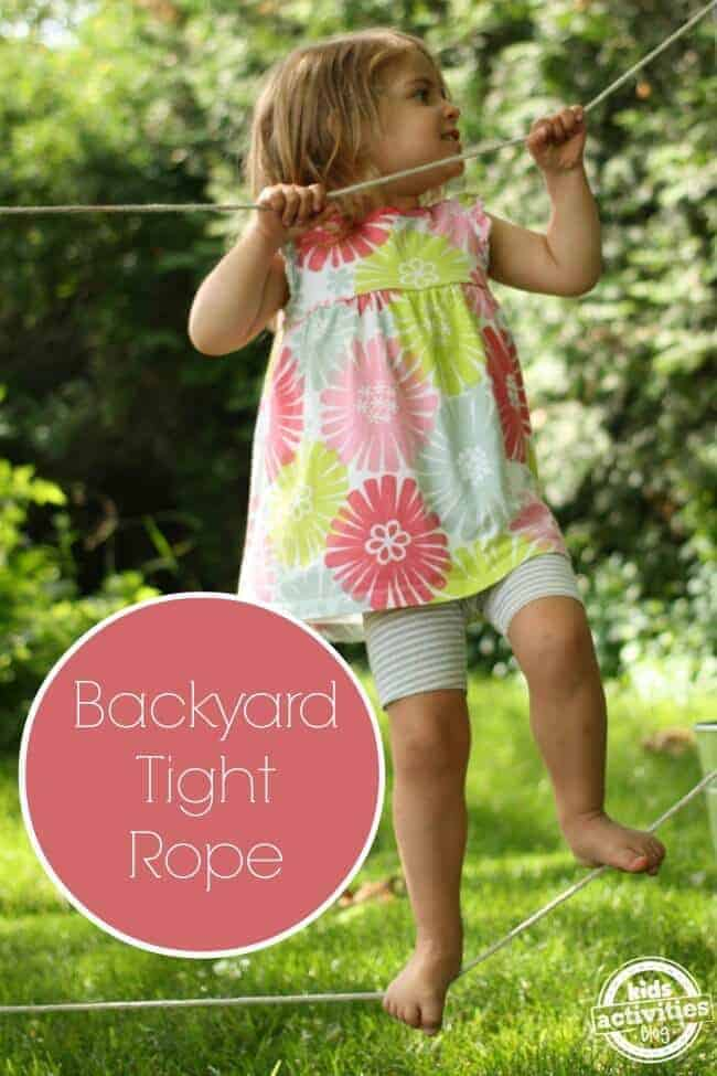 Backyard Tight Rope by Kids Activities Blog | Budget Backyard Project Ideas