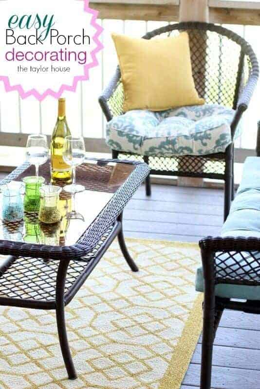 Easy Back Porch Decorating Ideas by The Taylor House | Budget Backyard Project Ideas