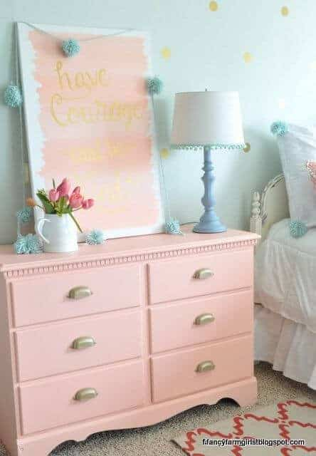 Farmhouse Bedroom Dresser Makeover Featured on How Does She | Garage Sale Makeovers that Wow!