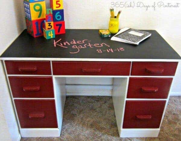 Garage Sale Upcycled Desk with Chalkboard Top by 365 ish Pins | Garage Sale Makeovers that Wow!