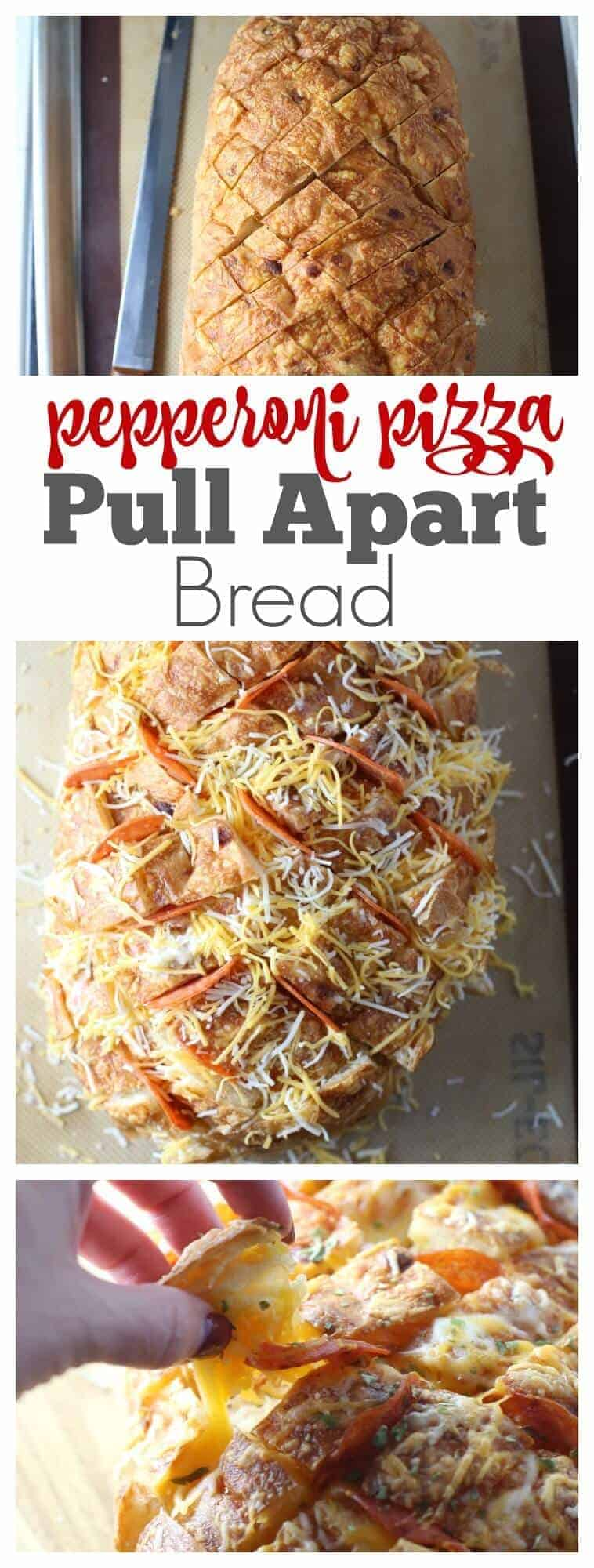 Pepperoni Pizza Pull Apart Bread - Easy and delicious appetizer, side dish and after school snack!