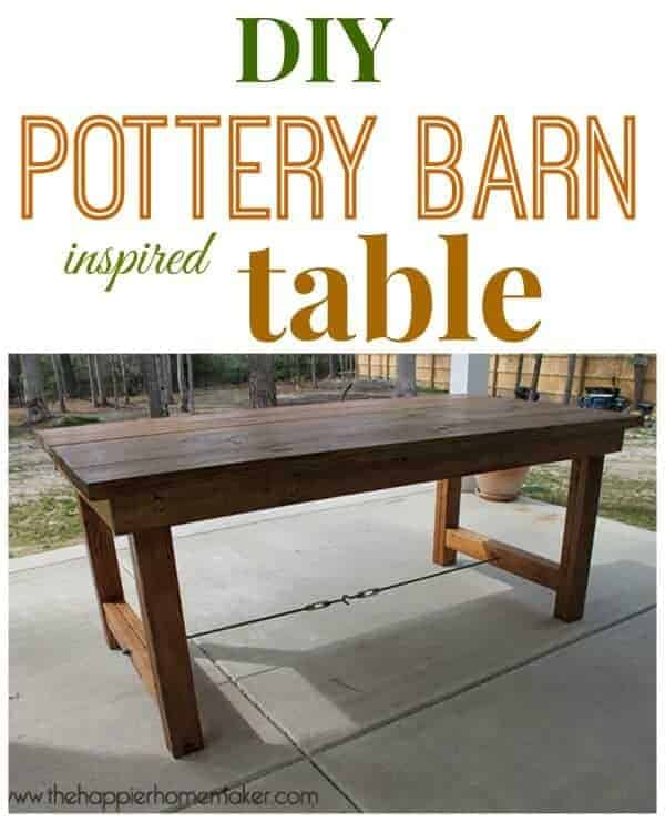 Pottery Barn Inspired Outdoor Dining Table by The Happier Homemaker | Budget Backyard Project Ideas