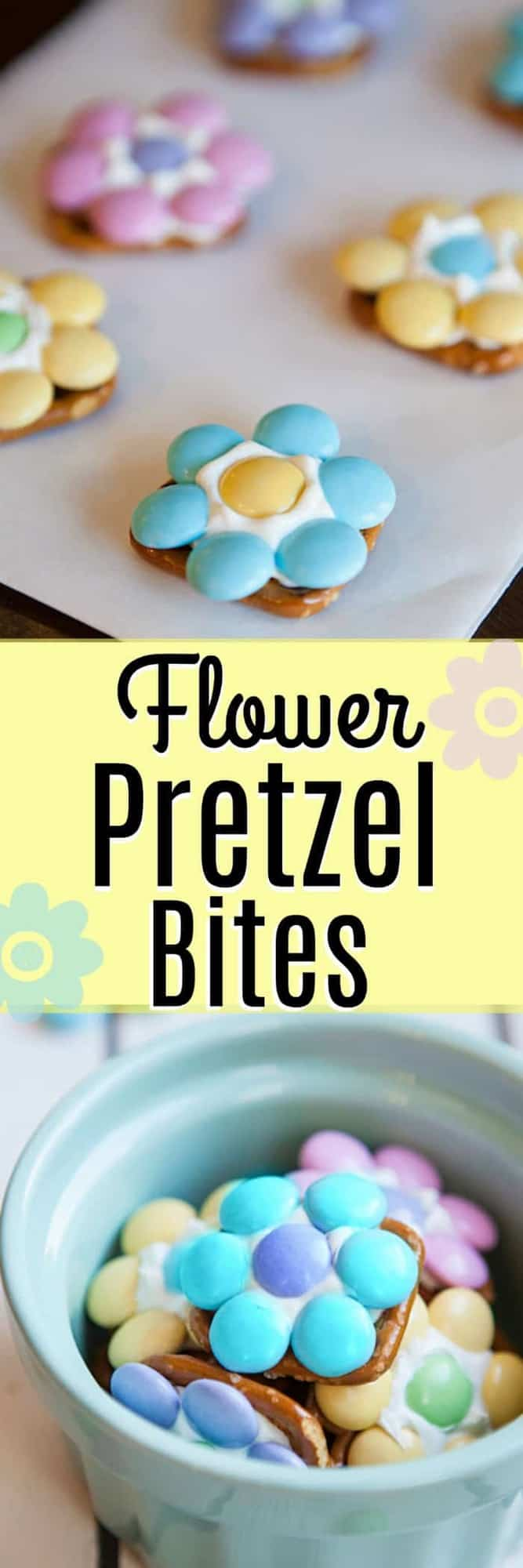 Flower Pretzel Bites - a sweet and salty treat that is the perfect way to welcome Spring into your home. AND an easy Easter dessert to make with your kids!