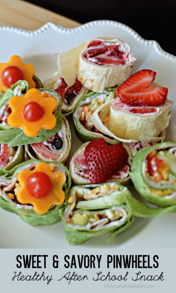 Sweet and Savory Pinwheels by Thirty Handmade Days | Fun and Healthy Kids Snack Ideas